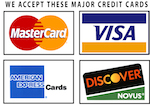 We accept all major credit cards, including mastercard, visa, american express and more!